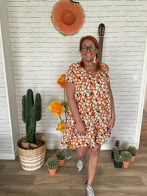 robe v fleurs orange