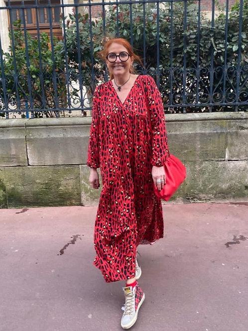 robe longue léopard rouge