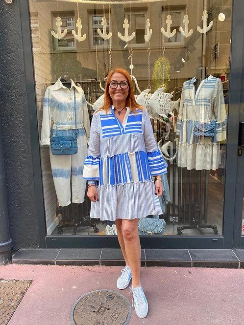robe volantée Deauville ciel