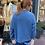pull col V mohair bleu jeans