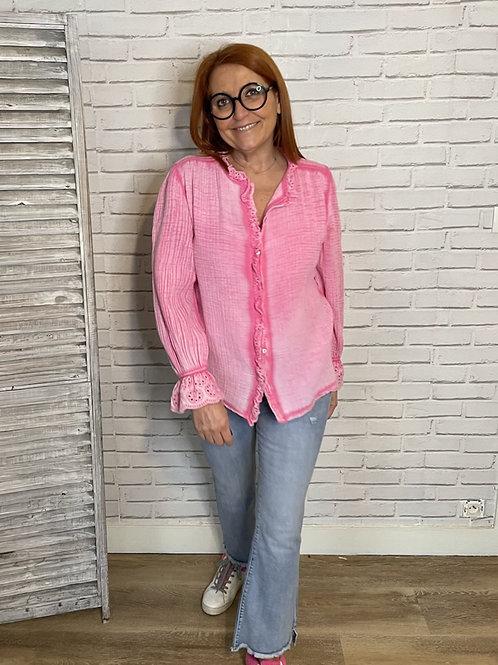 chemise gaz de coton rose