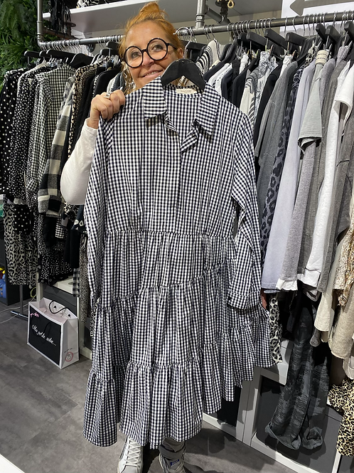 Robe volantée vichy noir & blanc