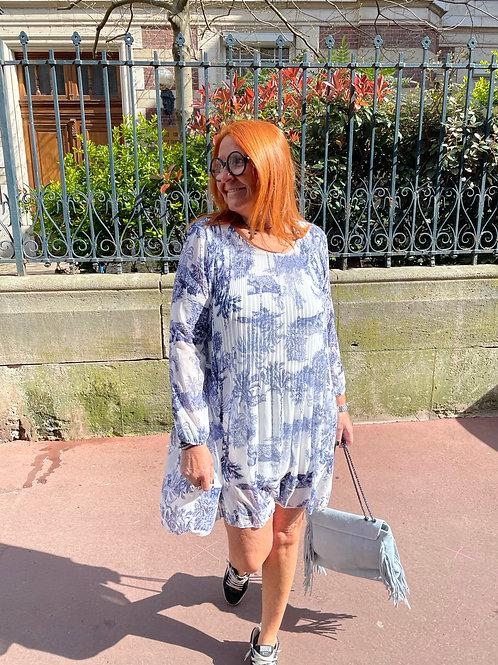 robe plissée motif jouy bleu