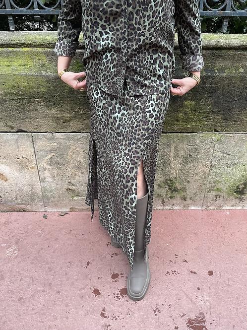 jupe longue kaki léo