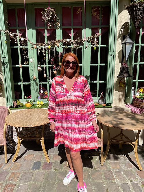 robe courte tie and dye rose