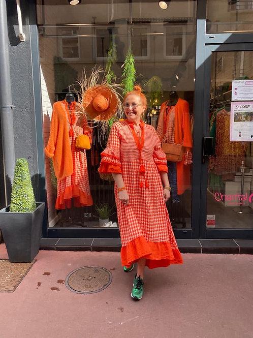 robe longue à carreaux orange
