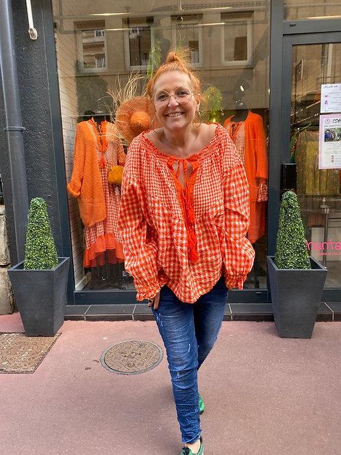 tunique à carreaux orange