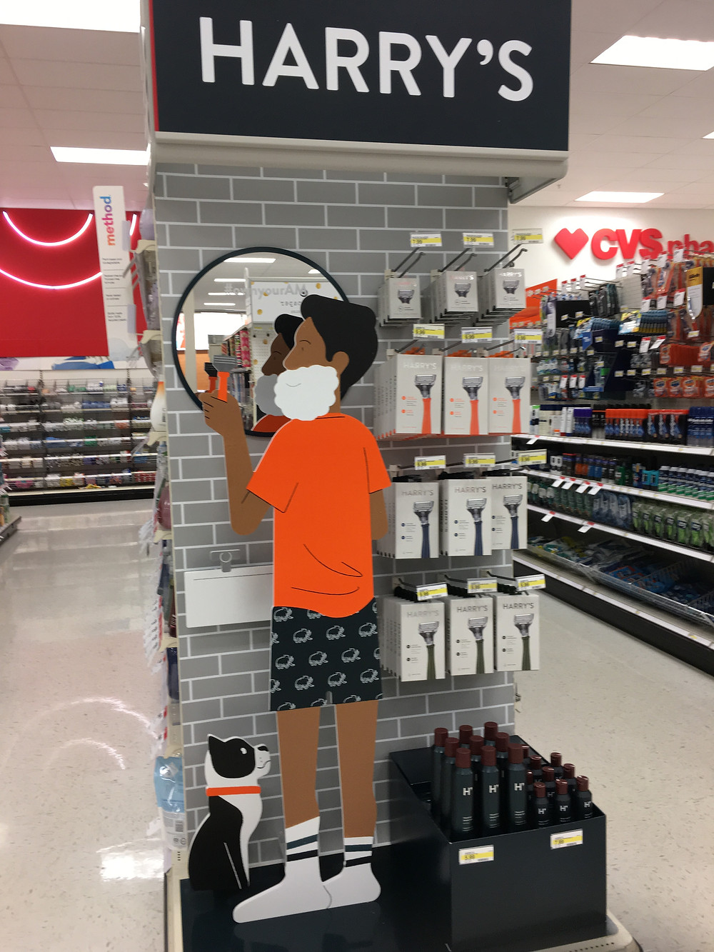 3-D Product Display of man shaving in mirror