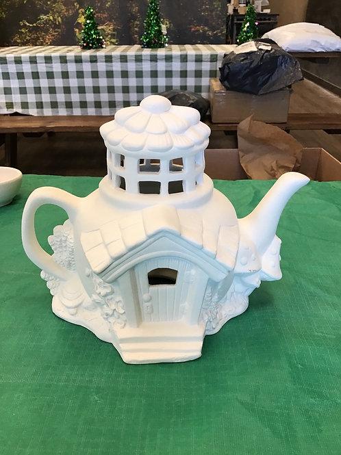 Tiny Tea Pot Fairy House #3*light up*