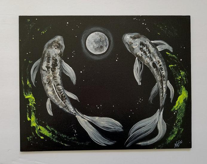 "11x14"" original Moon Koi Duo"