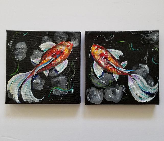 """6""""x6"""" original canvas pair"""