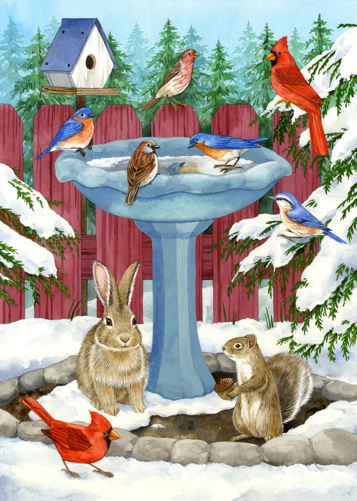 Frozen birdbath