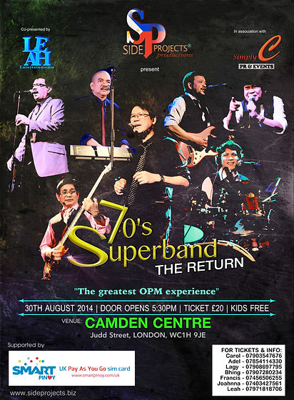 Side Projects Productions present the 70's Superband live in the UK 2014