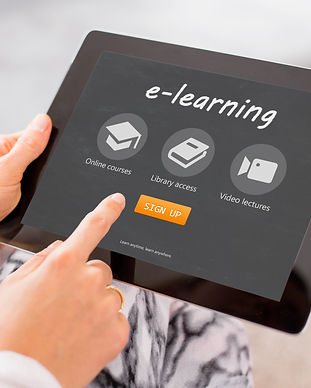 Sample e-learning website on tablet comp