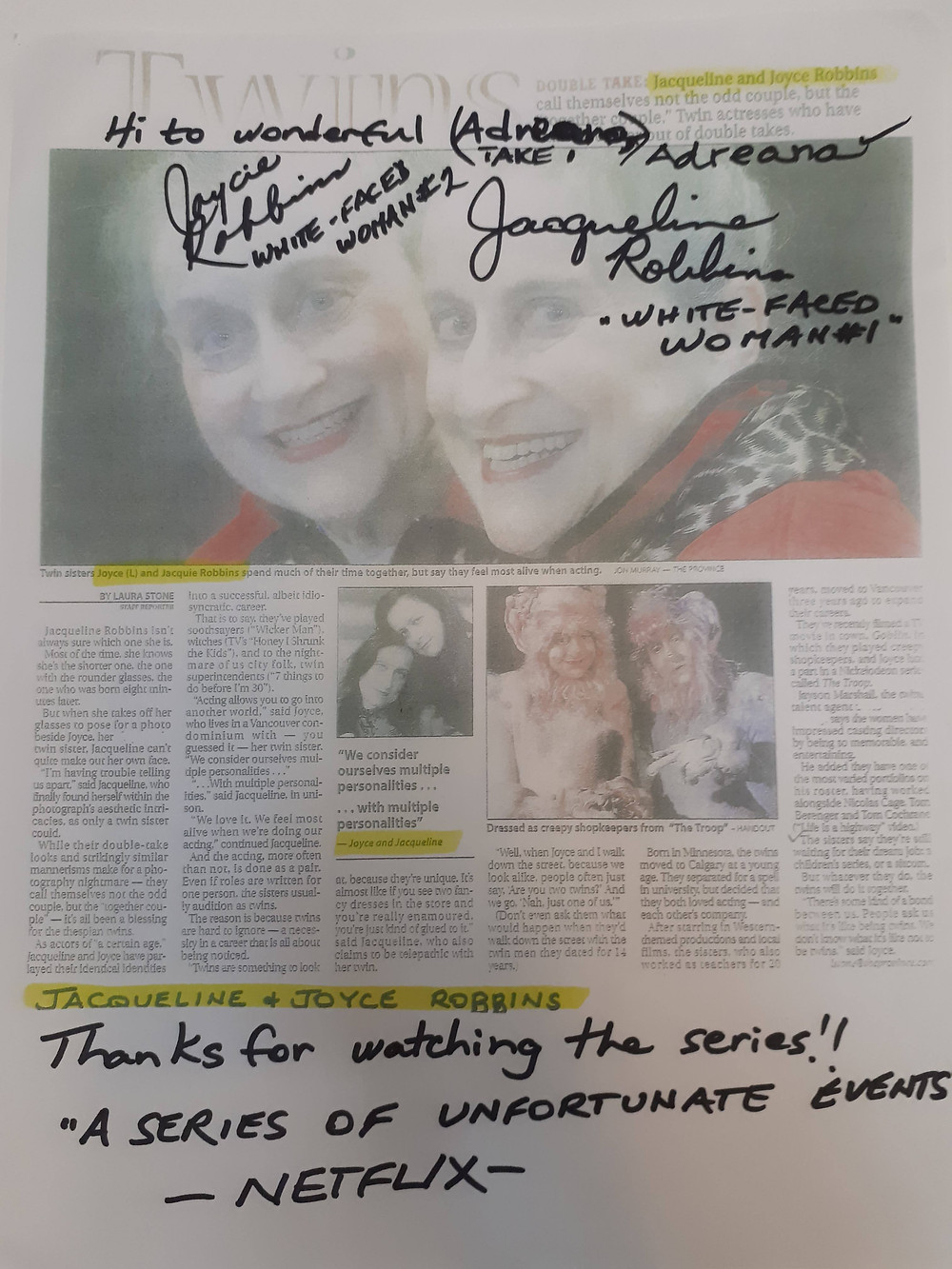 Autographs from Joyce and Jacqueline Robbins