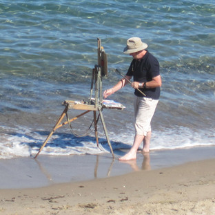 artist in water