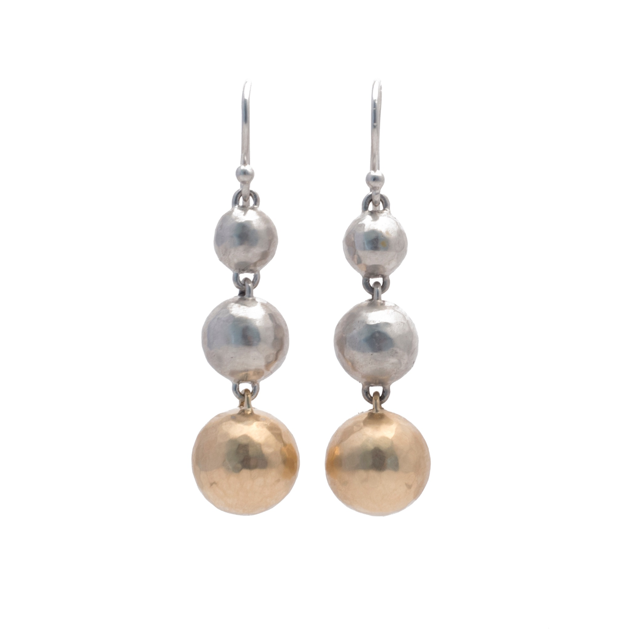 130056-14K gold silver snowfall earrings