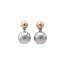 130055-14K-925 gold silver snowdrift earrings