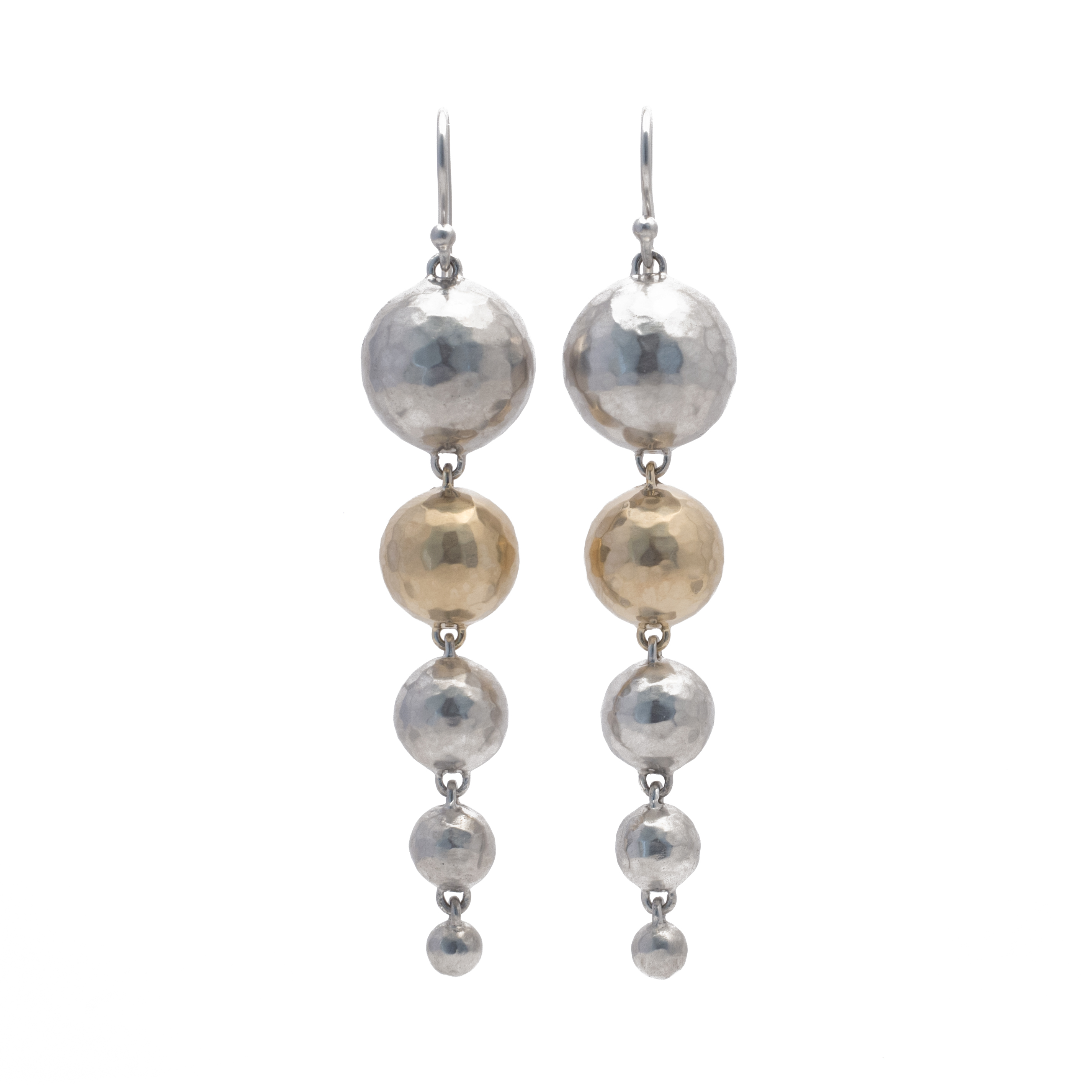 130057-14K-925 gold silver inverted avalanche earrings