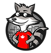 The Loca Vibe Tours logo: a cute raccoon in a Canadian Maple Leaf T-Shirt in front of a city skyline.