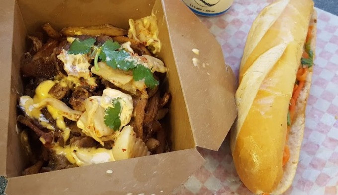 Kimchi Fries and a Grilled Beef Banh Mi from Pho Metro