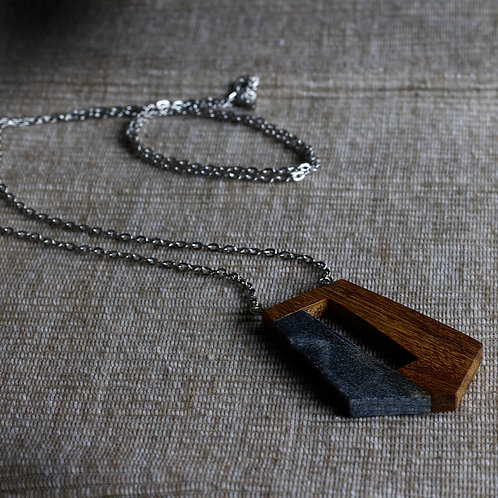 Wood and Dark Marble Pendant Necklace - RRP $49.95