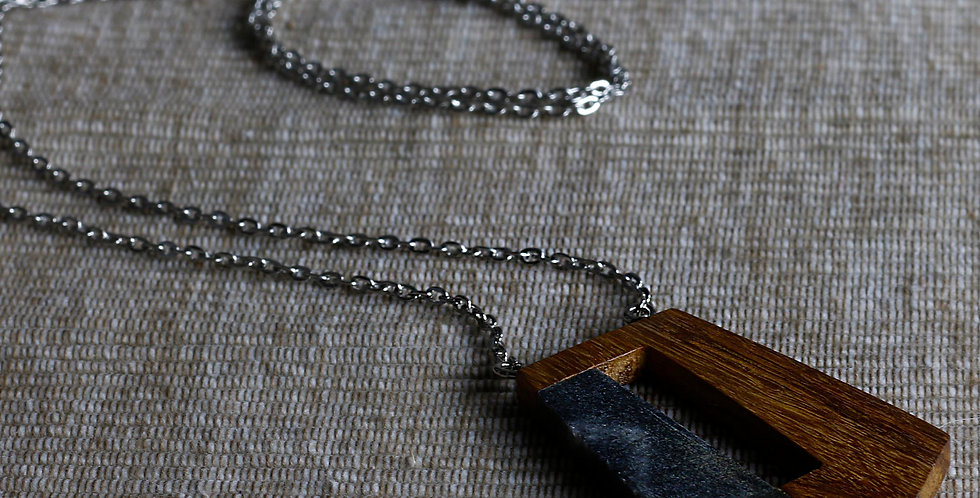 Wood and Dark Marble Pendant Necklace