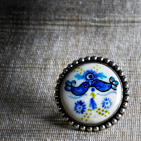 Kissing Birds Hand Painted Ceramic Ring - RRP $39.95