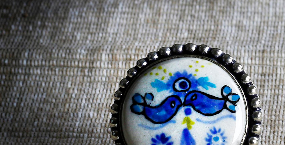 Kissing Birds Hand Painted Ceramic Ring