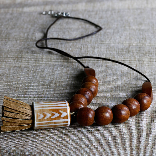 Wooden Beads Pendant Necklace with Leather Tassle - RRP $59.95