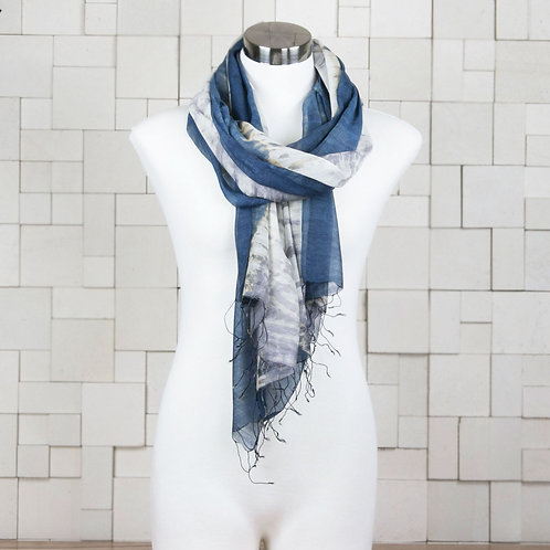 Mulberry Silk and Cotton Scarf - Waves Print