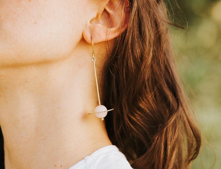 Energising Orbit Rose Quartz Earrings