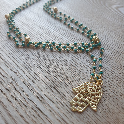 Hamsa Hand Gold and Turquoise Necklace - RRP $129.95