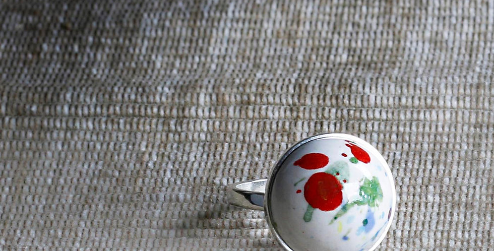 Modern Art Hand Painted Ceramic Ring