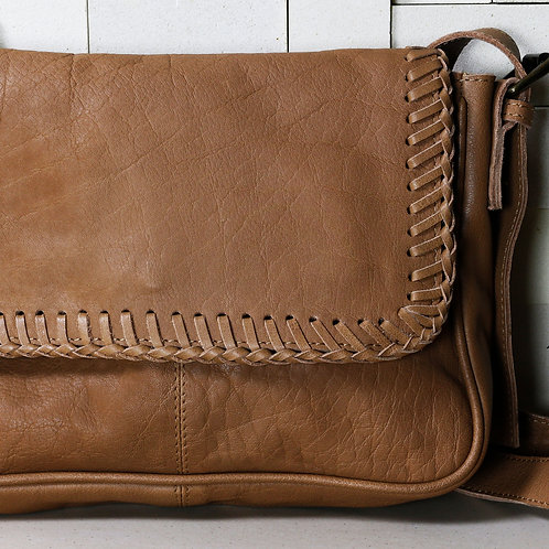 Soft Leather Bag with Hand-Stitched Detail - RRP $189.00