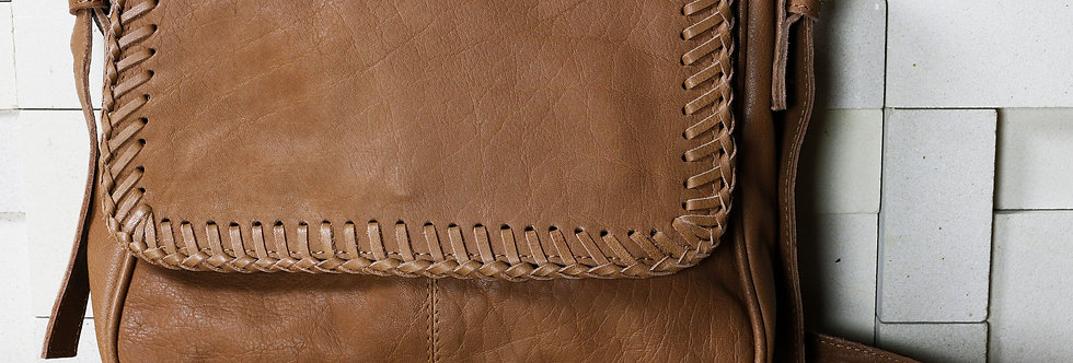 Soft Leather Bag with Hand-Stitched Detail