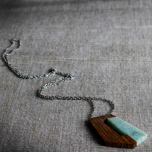 Wood and Light Marble Pendant Necklace - RRP $49.95