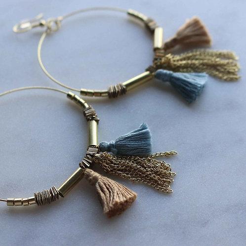 Upcycle Tassle Hoops Earrings - RRP $49.95