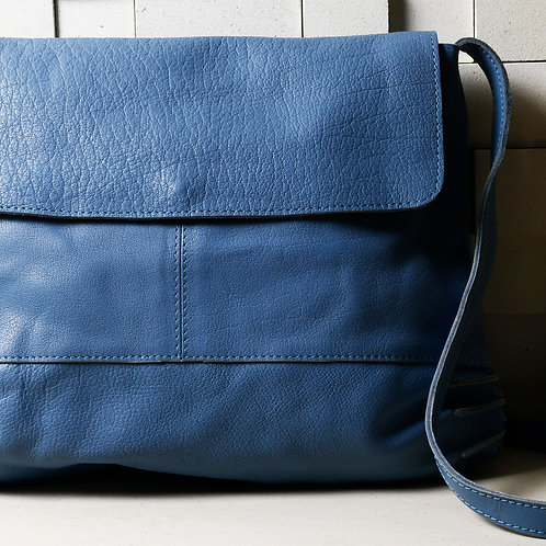 Hand-made Dusty Blue Soft Leather Bag