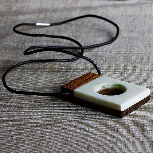 Marble and Wood Contemporary Pendant Necklace - RRP $49.95