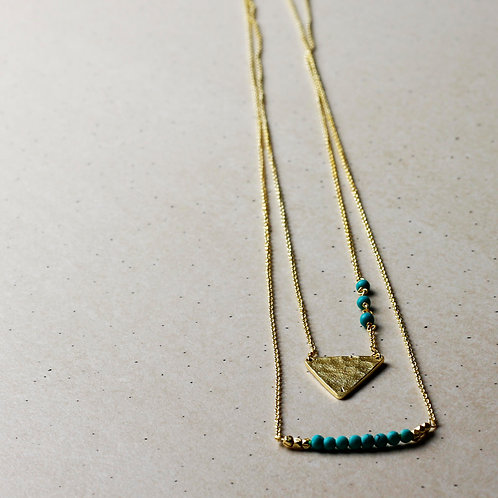 Neema Hammered Gold and Turquoise Necklace - RRP $69.95