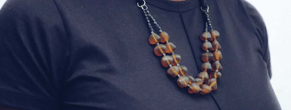 Topaz Glass Bead Necklace