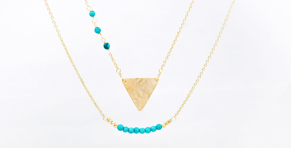 Neema Hammered Gold and Turquoise Necklace