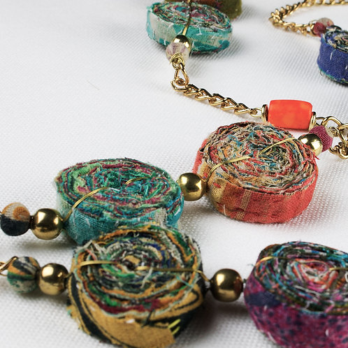 Upcycle Textile Swirls Long Handmade Necklace - RRP $49.95