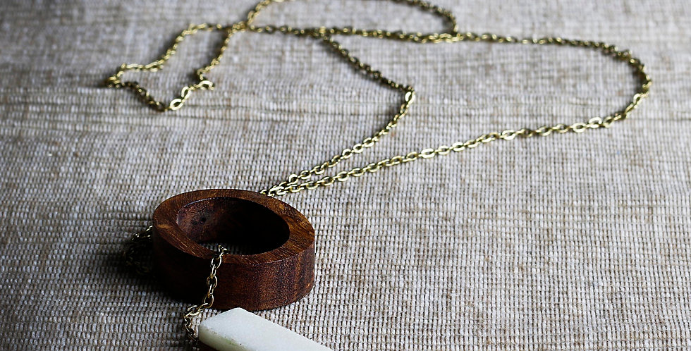 Wood and Marble Necklace