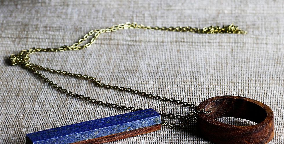 Wood and Dark Lapis Necklace