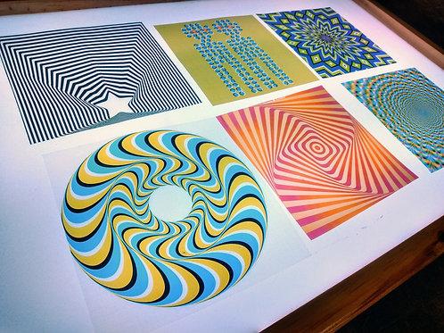 """Kit de imágenes translúcidas """"ilusión óptica y fondos con texturas"""""""