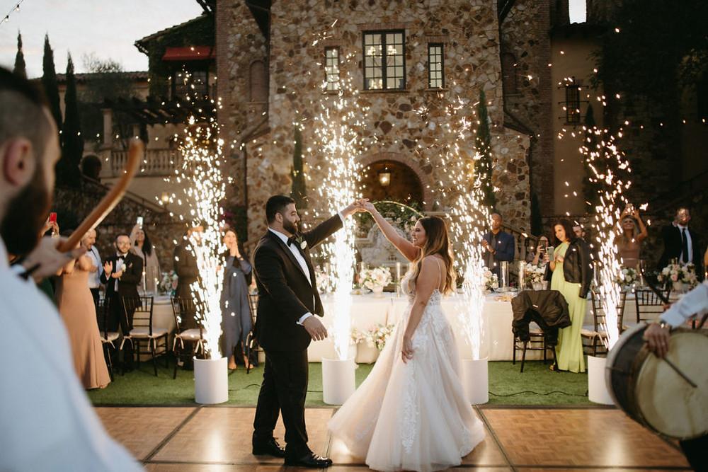bride groom first dance bella collina sparklers
