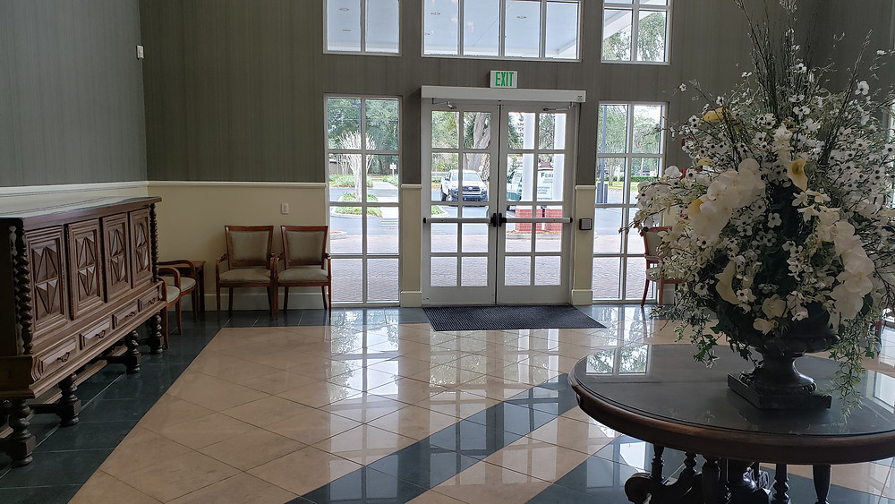 Open foyer with tables for gifts and photos