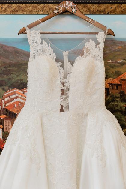 Bride wedding dress and custom hangar